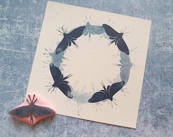 Moth rubber stamp for junk journal, vintage bug stamp for traveler notebook, insect stationery, entomology lover gift, wild animal paper