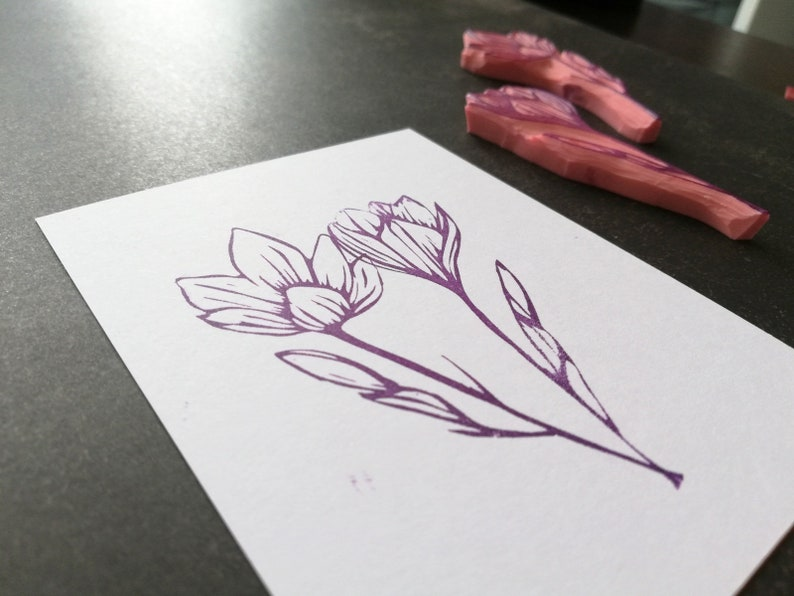 botanical ephemera saffron motif stationery, tampon natural bullet journal wild flower for scrapbooking Crocus rubber stamp set