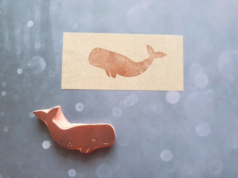 fisherman detail Blue whale rubber stamp for summer creations fish lover ocean life stationery animal print gift for father