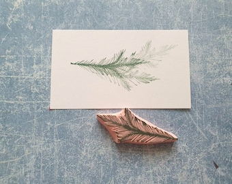 Pine rubber stamp for xmass card, Christmas tree branch stamp, wild winter stationery, Happy New Year card, noel snail mail,