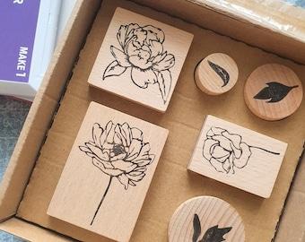 Botanical wooden stamp set of 6 for Christmas gift, scrapbooking lover present, vintage journal supply, traveler notebook accessories