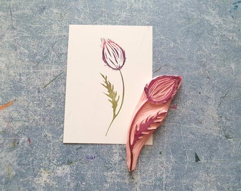 Thistle rubber stamp for bullet journal, wild flower stamp for scrapbooking, fairy floral ephemera, art notebook decorative print