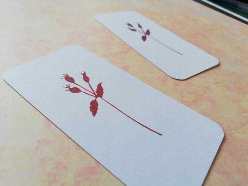 winter stationery vegan gift Rosehip rubber stamp botanical garden berry branch wild rose stamp woodland Christmas organic tea