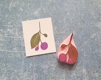 Berry rubber stamp for cardmaking, twig rubber stamp for junk journal, vintage design stationery, botanical embellishment, nature ephemera
