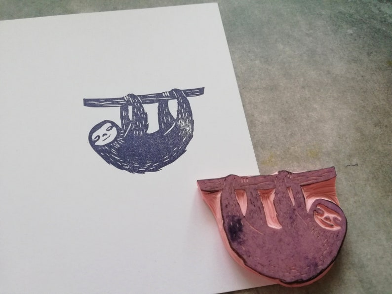 wildlife ephemera sloth stationery journaling decor tropical party favor exotic animal print Sloth animal rubber stamp gift for son