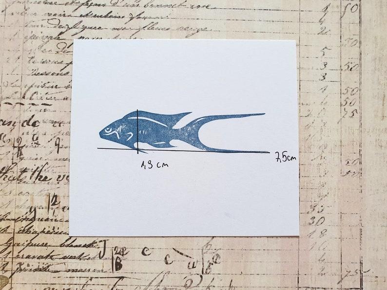 Fish rubber stamp for bullet journal marine craft fabric print block ocean ephemera aquarium fish stamp for journaling fairy water