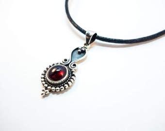 Garnet Droplet Pendant - Choose Your Stringing! Sterling Silver Pendant Choker OR Necklace