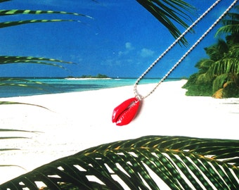 Necklace with cauri shell pendant, CAURI -- painted red by All Things Natural