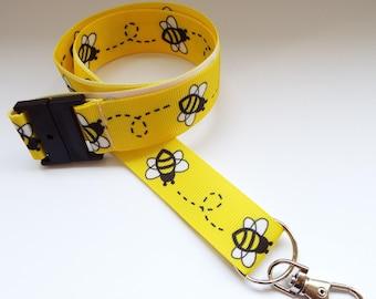 6bd1b31fd83474 Bees - Yellow - Handmade Ribbon Lanyard  Keychain  ID Holder  Phone  Whistle
