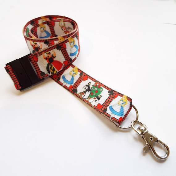 Handmade Alice In Wonderland Inspired Lanyard Complete With Safety Release Clip