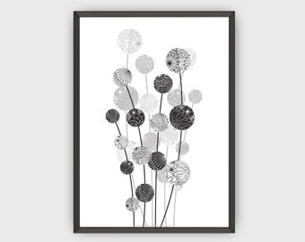 Black&White Flower Pods, Graphic Floral Illustration, Wall Art, DIY, Instant Download, Printable Poster, High Quality PDF, Instant Download