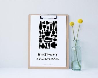 "Handmade, Printable, Perpetual Birthday Calendar, DIY, Modern Scandinavian Design ""Black & White Vases"", Instant Download"