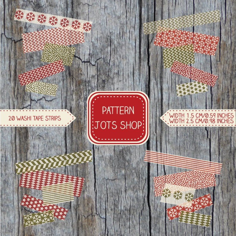 Digital Washi Tape Christmas Patterns 1.5cm/0.59 in and image 0