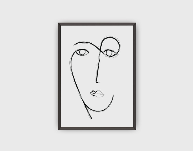 Handmade Line Art Print Abstract Face Wall Decor Fine Art image 0