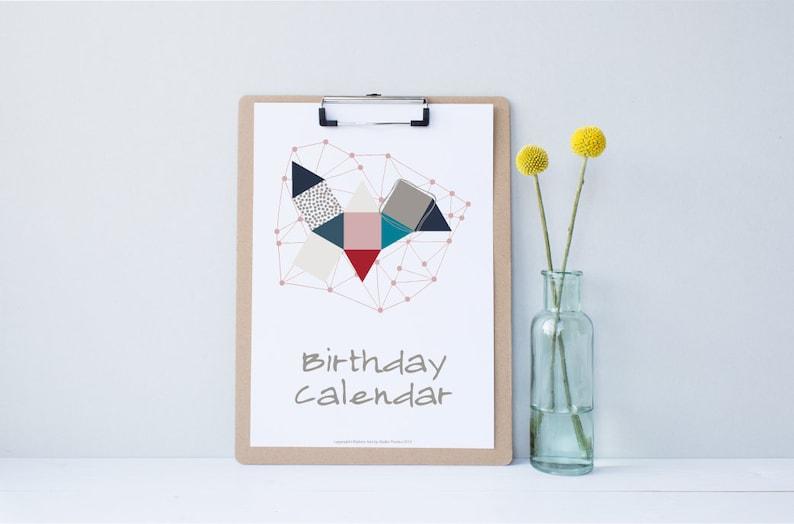 Perpetual Birthday Calendar DIY Printable PDF Instant image 0
