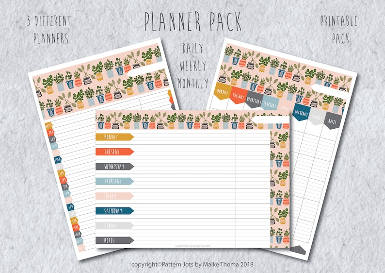 Planner Pack Printable Pages // Daily Weekly Monthly Organizer image 0