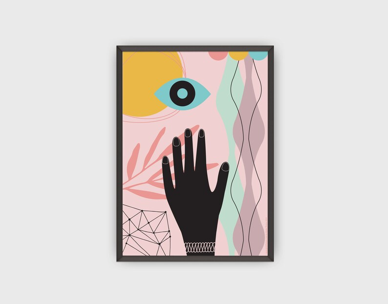 Hand Poster Hands Print Contemporary Art Home Decor Modern image 0