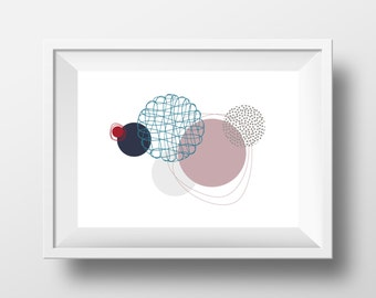 """Modern Art, Printable, Handmade, DIY, Poster, Graphic Wall Art, """"Floating Circles"""", Instant Download, Wall Decor, Contemporary, Abstract"""