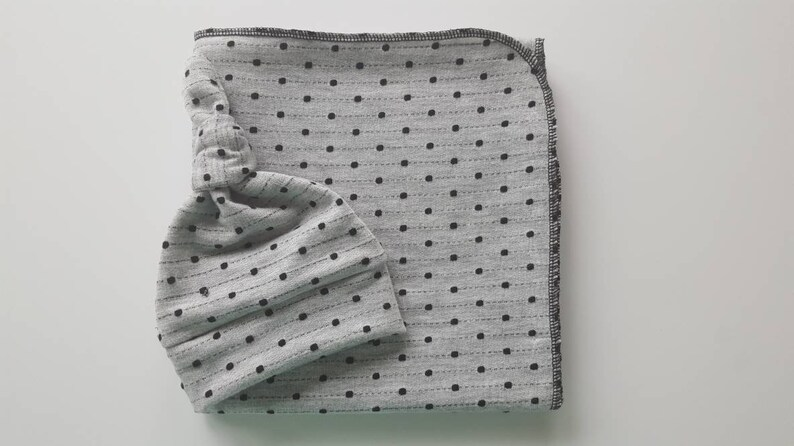 Newborn Photo Prop Black and Gray Swaddle Set Gender Neutral Take Home Set Swaddle Blanket /& Newborn Hat Ready to Ship Newborn Clothes