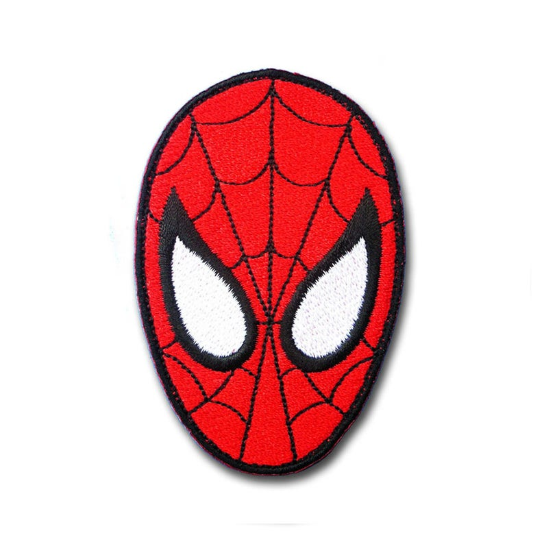 Spiderman Head Super Hero Cartoon Patch Applique Embroidered Etsy