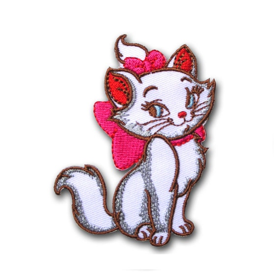 """Big 7/"""" Marie kitten in Aristocats white cat Embroidered Iron On //Sew On Patch"""