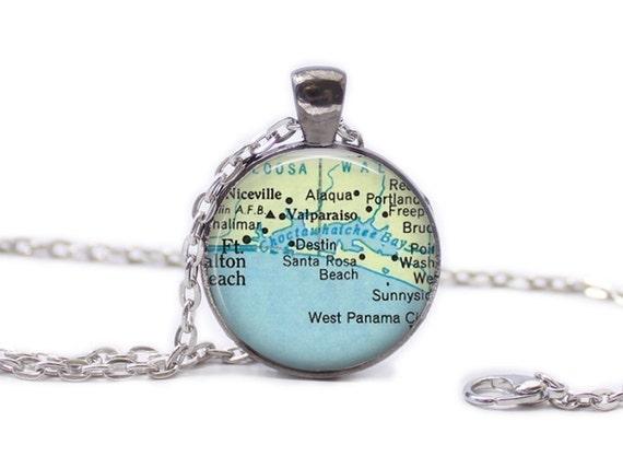 Where Is Destin Florida On The Map.Destin Florida Map Pendant Map Necklace Florida Jewelry Etsy