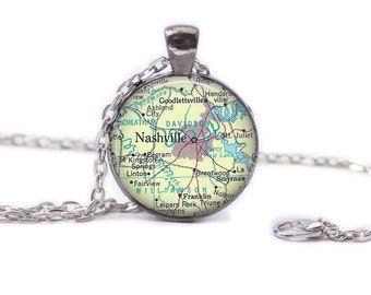 Nashville Map Pendant Map Necklace Map Jewelry