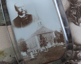 Antique Glass Photo Paperweight, Pastor and Church, Antique Photograph, Collectible Paperweight, Antique Church and Graveyard