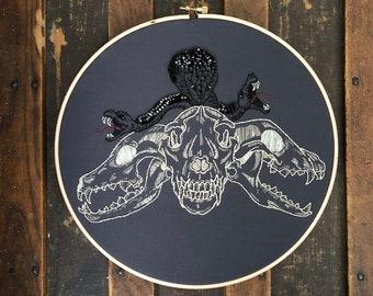 Cerberus Hand Embroidered Hoop Art, Three Headed Dog,  Mythological Monster Art, Snake Wall Art, Gothic Wall Art, Macabre Art, Fantasy Art
