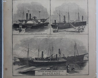 Nautical Engraving, Preparing Merchant Vessels for the Blockage, Antique Harpers Weekly Newspaper Page, September 7 1861, Maritime, Decor