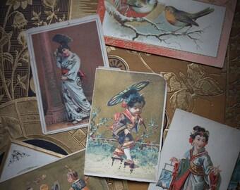 Asian Inspired Victorian Trade Cards, Victorian Era, Antique Ephemera, Lithographs, Prints, Advertising, Victorian Scrapbook Salvage