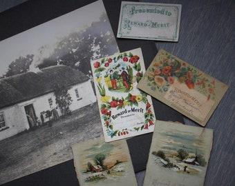 Antique Reward of Merit Cards, Victorian, Ephemera, School Rewards, Trade Cards, Scrapbook Salvage, Junk Journaling, Collage Supply