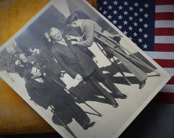 Vintage Herbert Hoover Photograph, with World War I Veterans, Presidential Print, Vintage Photography, Political History, 1930s