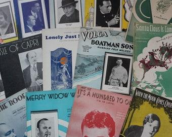 Lot of Sheet Music Books from the 1930s, Vintage Music, Art Print, Paper Ephemera, Music Art Poster, Scrapbook, Junk Journal, Collage Supply