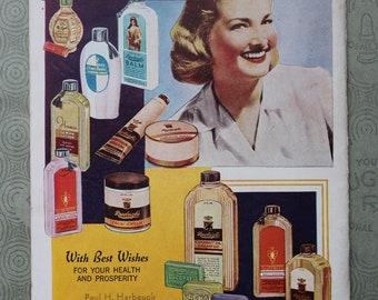 Rawleigh's Good Health Guide, 1942, Vintage Almanac, Vintage Cook Book, Recipes, Advertisments, Retro, 1940s, Ephemera