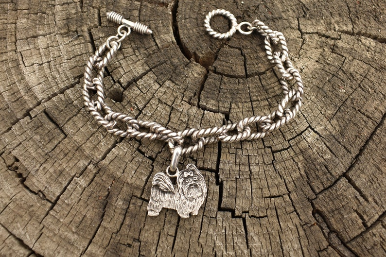 Fine Arf sterling silver dog charm link bracelet, huge heavy twisted  sterling links with toggle