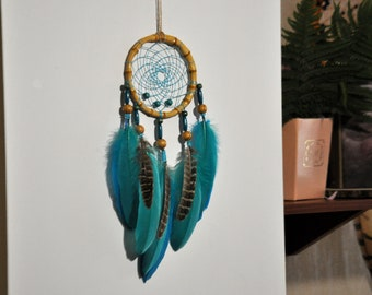 Dream Catcher Marine Blue. Feather decor for bedroom, bedroom wall decor over the bed. Turquoise dream catcher wall hanging