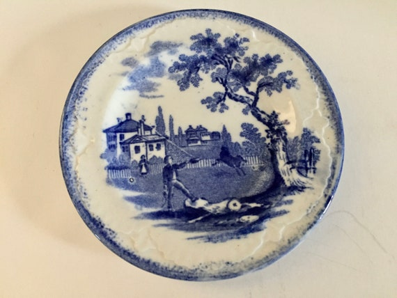 Antique China - Pin Dish - Flow Blue Pottery - Made in England