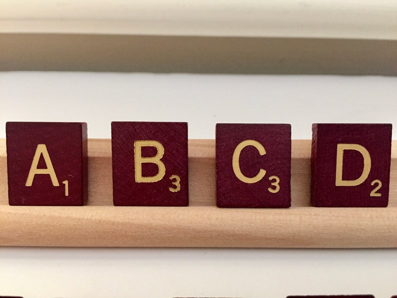 Square Edges Stamped Characters Maroon Individual Scrabble Tiles