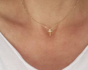 Gold Cross Necklace, Cross Jewelry, Tiny Cross, Small Gold Vermeil Cross, Dainty Delicate Minimalist, Layering Layered, Christmas Gift