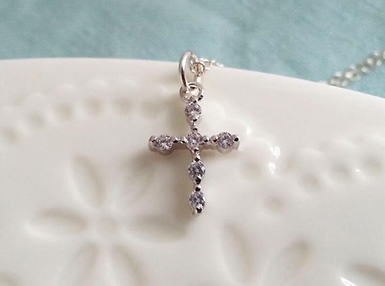 Dainty Delicate Everyday Minimalist Dainty Cross Necklace Rhinestone Cross Necklace Diamante Small Cross Tiny Cross Pendant