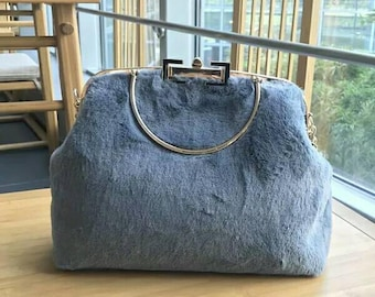 cd8cdb5f5d Hand made fuzzy clutch bag evening bag gray bag chain included