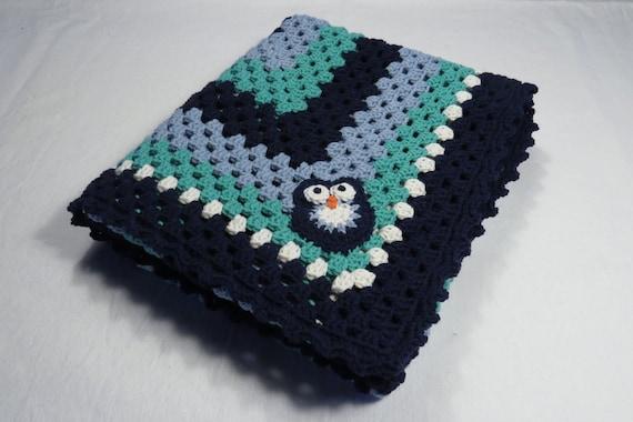 Gehäkelte Babydecke In Blau Und Türkis Baumwollmischgarn Mit Etsy