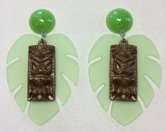 The Tiki, Tiki, Tiki Room - Jumbo Tiki and Green Monstera Leaf Earrings With Confetti Button Tops. Posts, Plugs, or Clips