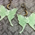 Large Green Luna Moth (Actias Luna) Earrings With Brass Crescent Moons. Laser Etched Acrylic, Lunar, Witch, Wicca, Moon Goddess, Goth