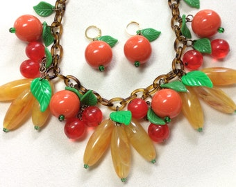 Bananas, Oranges & Cherries Fruit Salad Necklace and Earring Set 30s, 40s, 50s Vintage Bakelite/Fakelite/Lucite/Celluloid Style. Pinup, VLV