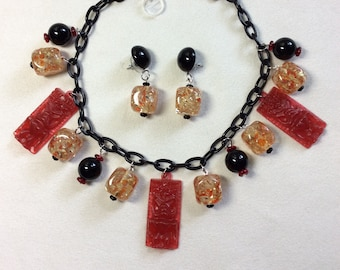 """Bakelite/Lucite Style Volcanic Lava Tiki Necklace or Necklace and Earring Set with Red Tikis and Hot """"Lava"""" Baubles. Pinup 50s, 60s, Pele"""