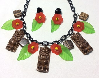 40s, 50s, 60s Lucite Style Tiki Necklace or Necklace and Earring Set with Tikis, Red Tropical Flowers, and Jungle Leaves. Tiki, Pinup, VLV