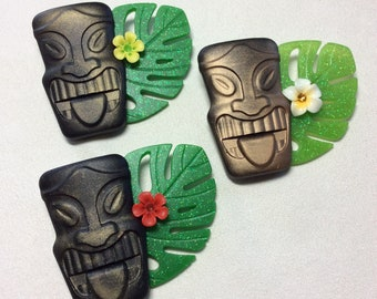 Big Tiki Head, Flower, and Tropical Leaf Brooch - Bakelite/Lucite Style. VLV, Pinup, Kitschy, Tiki Oasis, Polynesian, Trader Sams