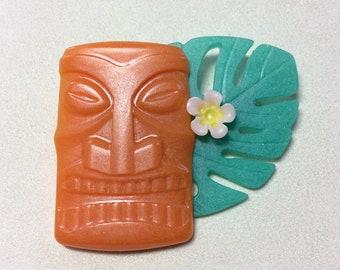 Big Orange Tiki Head, Flower, and Tropical Leaf Brooch - Bakelite/Lucite Style. VLV, Pinup, Kitschy, Tiki Oasis, Polynesian, Trader Sams